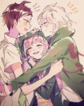 1girl 2boys :d ahoge animal_bag backpack bag bangs black_jacket blurry blurry_foreground blush brown_hair cat_bag closed_eyes commentary_request danganronpa_(series) danganronpa_2:_goodbye_despair depth_of_field facing_another from_side green_jacket green_neckwear grey_hair hair_ornament hairclip hand_on_another's_head highres hinata_hajime hood hood_up hooded_jacket jacket komaeda_nagito long_sleeves looking_at_another medium_hair mian_(nemu_0118) motion_blur multiple_boys nanami_chiaki necktie open_mouth pink_bag pink_hair sandwiched shiny shiny_hair short_hair short_sleeves smile