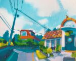 blue_sky bush clouds cloudy_sky commentary english_commentary english_text gen_1_pokemon grass highres house no_humans outdoors pallet_town pidgey plant pokemon pokemon_(creature) power_lines rattata road sign simone_mandl sky tree utility_pole
