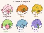 ariamisu blue_flower cherry_blossoms closed_eyes english_text flower forget-me-not_(flower) gen_4_pokemon ginkgo gracidea hydrangea mythical_pokemon orange_flower pink_flower pokemon purple_flower shaymin shaymin_(land) tiger_lily variations watermark yellow_flower