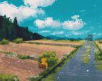 blue_sky commentary drowzee english_commentary gen_1_pokemon highres no_humans outdoors pokemon pokemon_(creature) simone_mandl sky spearow