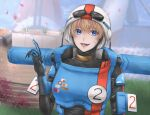 1girl apex_legends armor bangs blue_eyes bodysuit goggles goggles_on_headwear helmet lichtenberg_figure looking_to_the_side official_alternate_costume open_hand open_mouth pointing pointing_up power_armor scar scar_on_cheek scar_on_face science_fiction smile solo sorata_(fuyuki_15_50) wattson_(apex_legends) white_headwear
