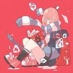 1girl 2020 absurdres backpack bag black_legwear blush book bubble chain haru57928031 highres holding holding_book illustration.media knees_up light_brown_hair long_sleeves open_book original pink_footwear red_background red_bag scarf shoes short_hair socks solo striped striped_neckwear