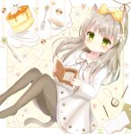 1girl animal_ear_fluff animal_ears book bow cat_ears cat_girl cat_tail clock cookie cup dress food fork green_eyes grey_legwear hair_bow hairband highres holding holding_book imagining knife light_brown_hair long_hair mike_mochi original pantyhose pencil sweets syrup tail teacup white_dress