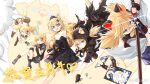 5girls :3 animal_ears black_dress blonde_hair blue_eyes bulletproof_vest cat_ears cat_tail clone commentary_request dress fang fingerless_gloves girls_frontline gloves highres holding holding_sword holding_weapon idw_(cloak_and_cat_ears)_(girls_frontline) idw_(girls_frontline) katana kisetsu knee_pads mouth_hold multiple_girls official_alternate_costume one_eye_closed open_mouth sheath shorts sleeveless sleeveless_dress sword tail token unsheathing weapon