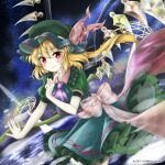 +_+ 1girl alternate_color blonde_hair blush_stickers bow closed_mouth commentary_request crystal dress dutch_angle eyebrows_visible_through_hair feet_out_of_frame flandre_scarlet funa_(rmrz8282) green_dress green_headwear hand_up hat highres index_finger_raised looking_at_viewer magic_circle medium_hair mob_cap one_side_up purple_neckwear smile solo touhou touhou_lost_word white_bow wings