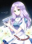 1girl desert_eagle fire_emblem fire_emblem:_blazing_sword fire_emblem:_rekka_no_ken florina_(fire_emblem) green_eyes gun lily_(flower) purple_hair