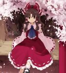 1girl arm_support ascot bangs black_footwear blue_neckwear bobby_socks bow branch brown_eyes brown_hair cherry_blossoms closed_mouth commentary detached_sleeves dress flower frilled_dress frilled_hair_tubes frilled_neckwear frilled_shirt_collar frills hair_bow hair_tubes hakurei_reimu kaigen_1025 light_blush looking_at_viewer mary_janes medium_hair outdoors petals ponytail red_bow red_dress red_ribbon ribbon ribbon-trimmed_sleeves ribbon_trim shadow shoes sidelocks sitting socks solo touhou tree white_legwear
