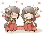 black_hair blush gerotan1 hinoa japanese_clothes kimono long_hair minoto monster_hunter monster_hunter_(series) monster_hunter_rise pointy_ears siblings twins