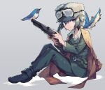 1girl androgynous aqua_eyes belt belt_pouch bird blue-and-white_flycatcher brown_coat coat coat_on_shoulders collared_shirt colt_1851_navy full_body fur_hat goggles goggles_on_headwear green_hair gun hat holding holding_gun holding_weapon kino_(kino_no_tabi) kino_no_tabi looking_at_viewer pouch revolver sasa_onigiri shirt simple_background sitting smile solo ushanka weapon