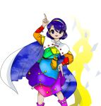 belt blue_eyes blue_hair buttons cape clouds hairband magic multicolored multicolored_clothes official_art pointing red_button sack short_hair spell_card tagme tenkyuu_chimata touhou unconnected_marketeers white_cape zipper zun_(artist)