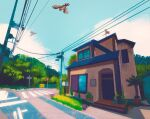blue_sky building bush clouds cloudy_sky commentary english_commentary flying forest gen_1_pokemon grass highres house mailbox_(incoming_mail) nature no_humans outdoors pallet_town pidgeot pidgey plant pokemon pokemon_(creature) potted_plant power_lines rattata road road_sign sign simone_mandl sitting sky tree utility_pole