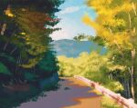 blue_sky bush caterpie commentary english_commentary gen_1_pokemon grass highres mountain no_humans outdoors pidgey plant pokemon pokemon_(creature) road simone_mandl sky tree viridian_forest weedle