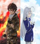 1boy 1girl 86_-eightysix- abi_(user_nzav7333) absurdres ahoge belt black_belt black_gloves blue_jacket blue_skirt blush brown_hair camouflage camouflage_jacket camouflage_pants clenched_hand clouds fingerless_gloves fire gloves grey_eyes hair_behind_ear hair_between_eyes hands_together highres jacket looking_down open_hand pants red_eyes shinei_nouzen silver_hair skirt sky vladilena_millize white_gloves white_legwear