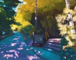 blue_sky bush commentary english_commentary forest gen_1_pokemon grass highres nature nidoran nidoran_(female) nidoran_(male) no_humans outdoors plant pokemon pokemon_(creature) power_lines sign simone_mandl sky stairs tree utility_pole viridian_forest