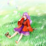 barefoot bubble bubble_blowing field highres komakusa_sannyo pipe pipe_in_mouth purple_hair shoes_removed touhou unconnected_marketeers