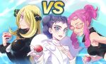 3girls bare_shoulders black_hair blonde_hair blue_eyes blush breasts closed_mouth commentary_request cynthia_(pokemon) diantha_(pokemon) hair_ornament hair_over_one_eye highres holding holding_poke_ball ivory_(25680nico) large_breasts long_hair malva_(pokemon) multiple_girls open_mouth pink_hair poke_ball pokemon pokemon_(game) sidelocks smile sunglasses tied_hair