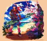 1boy beach belt blue_eyes blue_hair blue_sky chrono_cross clouds commentary coral english_commentary jewelry kianamosser necklace ocean red_bandana red_legwear serge shorts sky smile steel-toe_boots symbol_commentary