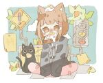 ! 1girl animal_ears bangs black_cat black_hoodie blush bocha_2_2 borrowed_character brown_hair cat cat_ears clouds drawstring egg_toast_girl_(haru57928031) eyebrows_visible_through_hair eyes_visible_through_hair food food_on_head fried_egg fried_egg_on_toast hood hoodie leaf long_sleeves mouth_hold object_on_head original paper plant short_hair sign sitting solo traffic_light