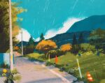 bellsprout blue_sky commentary english_commentary gen_1_pokemon grass highres mountain no_humans oddish outdoors pokemon pokemon_(creature) power_lines road simone_mandl sky traffic_cone tree utility_pole