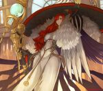 1girl absurdres bangs blush breasts claws dress earrings fate/grand_order fate_(series) feather_boa grin hat highres jewelry large_breasts long_hair long_sleeves looking_at_viewer miss_crane_(fate) porko puffy_sleeves redhead smile staff violet_eyes white_dress white_headwear witch_hat