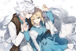 1boy 1girl ahoge artoria_pendragon_(all) blonde_hair blue_dress brown_scarf commentary_request dress fate/grand_order fate/stay_night fate_(series) green_eyes grey_hair hands_up holding_hands kamiowl merlin_(fate) one_eye_closed saber scarf shawl shirt smile teeth violet_eyes white_background white_hair white_shawl white_shirt