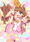 1girl animal_ears bangs blush brown_hair choker dress easter_egg egg eyebrows_visible_through_hair fake_animal_ears gen_3_pokemon gen_4_pokemon grey_eyes hair_between_eyes haru_(haruxxe) highres jumping looking_at_viewer lopunny may_(pokemon) one_eye_closed pantyhose pink_choker pokemon pokemon_(creature) pokemon_(game) pokemon_masters_ex pokemon_oras rabbit_ears torchic v wrist_cuffs yellow_legwear