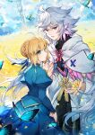 1boy 1girl ahoge artoria_pendragon_(all) bangs blonde_hair blue_dress blue_eyes blurry blurry_background braid bug butterfly cape dress fate/grand_order fate_(series) flower green_eyes grey_hair highres holding holding_flower insect juliet_sleeves kamiowl long_hair long_sleeves looking_at_viewer merlin_(fate) open_mouth outdoors pointy_ears puffy_sleeves ribbon saber short_hair smile white_cape