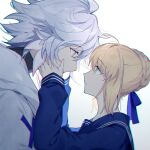 1boy 1girl ahoge artoria_pendragon_(all) blue_ribbon blue_sailor_collar blue_shirt braid eyebrows_visible_through_hair fate/grand_order fate_(series) from_side green_eyes grey_hair hair_ribbon hands_on_another's_cheeks hands_on_another's_face hands_up kamiowl looking_at_another merlin_(fate) messy_hair ribbon saber sailor_collar school_uniform shiny shiny_hair shirt short_hair