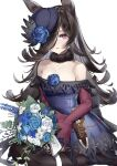 1girl absurdres animal_ears black_legwear blue_dress bouquet bow_dress brown_hair dagger dress flipped_hair flower fur_collar hair_over_one_eye hat hat_flower hat_over_one_eye highres holding holding_bouquet horse_ears lamium_(artist) long_hair looking_at_viewer off-shoulder_dress off_shoulder parted_lips rice_shower_(umamusume) sheath sheathed short_dress simple_background skin_tight solo thigh-highs tilted_headwear umamusume violet_eyes weapon white_background
