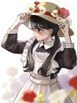 1girl absurdres adjusting_clothes adjusting_headwear apron arms_up black_hair black_shirt closed_mouth collared_shirt dress flower hands_up hat highres kashiwagi_chisame long_hair long_sleeves maid maid_apron mole mole_under_eye original poppy_(flower) red_flower shirt simple_background solo sun_hat twintails violet_eyes white_apron white_background white_dress white_flower