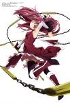 1girl absurdres armpit_peek breasts dress grin high_heels highres kusarigama leg_up looking_at_viewer magia_record:_mahou_shoujo_madoka_magica_gaiden mahou_shoujo_madoka_magica megami_magazine official_art red_dress red_eyes redhead sakura_kyouko scan sickle simple_background skirt skirt_lift small_breasts smile solo thigh-highs weapon white_background