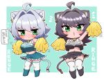 2girls ahoge animal_ear_fluff animal_ears aqua_background arm_up bangs bell black_hair black_panties blush breasts cat_ears cat_girl cat_tail character_name cheerleader chibi clothes_writing commentary_request ear_piercing embarrassed eyebrows_visible_through_hair frilled_skirt frills green_eyes grey_hair hair_between_eyes highres jingle_bell large_breasts long_hair looking_at_viewer midriff mole mole_under_eye mole_under_mouth multiple_girls navel neck_bell ngetyan no_bra open_mouth original outline panties pantyshot piercing pom_poms red_ribbon renge_(ngetyan) ribbon ringe_(ngetyan) short_hair siblings simple_background sisters skirt sweatdrop tail tail_ornament tail_ribbon tank_top thigh-highs translated underwear wavy_mouth white_legwear white_outline
