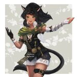 1girl animal_ears black_gloves black_hair braid cat_ears cat_tail choker commission dark_skin dark_skinned_female elbow_gloves facial_mark fangs final_fantasy final_fantasy_xiv fingerless_gloves floral_background floral_print gloves highres long_hair looking_at_viewer lyra-kotto miqo'te mismatched_gloves open_mouth ponytail shorts single_elbow_glove single_fingerless_glove solo tail thigh_strap whisker_markings yellow_eyes