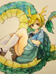 1girl blonde_hair blue_shirt closed_mouth curled_tail dragon_girl dragon_horns dragon_tail green_skirt horns key747h kicchou_yachie kneehighs knees_up light_smile looking_at_viewer photo_(medium) red_eyes shirt short_hair short_sleeves skirt solo square_neckline tail touhou traditional_media turtle_shell watercolor_(medium) white_legwear