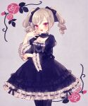 1girl :d bangs black_bow black_choker black_dress black_legwear blush bow choker collarbone cowboy_shot curly_hair dot_nose dress elbow_rest eyes_visible_through_hair flower framed frilled_choker frilled_dress frilled_sleeves frills from_side gothic_lolita grey_background grey_nails hair_bow hands_up idolmaster idolmaster_cinderella_girls kanzaki_ranko lace_trim lolita_fashion long_hair long_sleeves looking_at_viewer looking_to_the_side medium_dress muted_color nail_polish open_hand open_mouth outline pink_eyes pink_flower pink_rose pose puffy_long_sleeves puffy_sleeves ribbon-trimmed_dress ribbon-trimmed_sleeves ribbon_trim rose sidelocks silver_hair simple_background smile solo standing swept_bangs twintails v-shaped_eyebrows white_outline wide_sleeves yujup