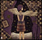 1girl absurdres angel_wings brick_wall feathered_wings feet_out_of_frame highres inukoko leaf original patterned_clothing plant print_skirt profile purple_hair purple_shirt shirt short_hair skirt solo white_wings wings