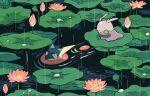 closed_eyes commentary_request gen_6_pokemon goomy greninja lily_pad mashita._(mentaiko_omoti) no_humans outdoors pokemon pokemon_(creature) rain ripples water water_drop