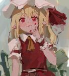 1girl ascot blonde_hair bow fang flandre_scarlet frilled_shirt frilled_shirt_collar frilled_skirt frilled_sleeves frills hat hat_ribbon medium_hair mob_cap no_wings one_side_up puffy_short_sleeves puffy_sleeves red_bow red_eyes red_ribbon red_skirt red_vest reddizen ribbon shirt short_sleeves side_ponytail skirt skirt_set slit_pupils touhou vest white_shirt wrist_cuffs yellow_neckwear