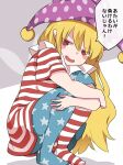 1girl american_flag_dress american_flag_legwear blonde_hair blush_stickers clownpiece commentary_request dress fairy_wings hammer_(sunset_beach) hat highres jester_cap long_hair looking_at_viewer neck_ruff pantyhose pointy_ears polka_dot purple_headwear red_eyes short_sleeves smug solo squatting star_(symbol) star_print striped touhou translation_request very_long_hair wings