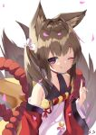 1girl ;) ;q amagi-chan_(azur_lane) animal_ears azur_lane bangs blunt_bangs brown_hair collarbone commentary_request eyebrows_visible_through_hair fox_ears fox_girl fox_tail from_above hair_ribbon highres index_finger_raised kyuubi long_hair looking_at_viewer looking_up manjuu_(azur_lane) multiple_tails off-shoulder_kimono off_shoulder one_eye_closed petals ribbon rope sakutaishi shimenawa sidelocks signature simple_background smile solo tail thick_eyebrows tongue tongue_out twintails violet_eyes wide_sleeves