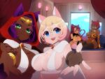 4girls :3 :d animal_ears arm_support armor bangs bikini_armor bk_(barakoodra) black_legwear blonde_hair blue_eyes bracelet breasts brooch brown_eyes cait_(corruption_of_champions) cape cat_ears cat_tail closed_mouth corruption_of_champions_2 crossed_bangs dark_skin dark_skinned_female diadem ears_through_headwear fang fingerless_gloves fingernails gloves gradient_hair green_eyes green_nails hair_between_eyes highres hood hood_up jewelry jitome large_breasts long_hair looking_at_viewer multicolored_hair multiple_girls nail_polish navel open_mouth pillow pink_hair ponytail purple_hair reaching_out sharp_fingernails sitting smile smug tail tattoo thigh-highs white_cape