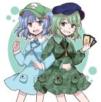 2girls blue_eyes blue_hair camouflage camouflage_print camouflage_shirt camouflage_skirt card green_eyes green_hair hair_bobbles hair_ornament holding holding_card kawashiro_nitori key multiple_girls shirt short_hair short_twintails skirt smile smirk touhou twintails two_side_up unconnected_marketeers ximsol182 yamashiro_takane