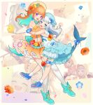 2girls :d absurdres album_cover alternate_costume aqua_footwear aqua_hair aqua_ribbon bare_shoulders blue_dress blue_eyes blue_flower blue_footwear blue_headwear border cover dress english_text fish_tail flower gawr_gura hair_flower hair_ornament highres hololive hololive_english hug midriff multiple_girls navel open_mouth orange_flower orange_hair orange_shirt orange_skirt photo_(object) puffy_shorts ribbon shark_tail sharp_teeth shirt shoes shorts skirt smile socks tail takanashi_kiara teeth violet_eyes white_border white_hair white_legwear yunare