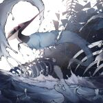 alu_drp claws closed_mouth dragapult from_side gen_8_pokemon highres no_humans pokemon pokemon_(creature) skeleton solo splashing water water_drop white_background