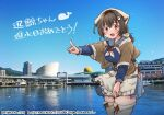 apron bandana black_hair blue_serafuku blue_skirt blue_sky breasts cityscape clouds commentary_request cowboy_shot dated day hair_flaps hair_ornament hairclip happy_birthday headgear jewelry jingei_(kancolle) kantai_collection kirisawa_juuzou large_breasts long_hair looking_at_viewer low_ponytail neckerchief numbered open_mouth outdoors photo_background pleated_skirt pointing red_eyes reflection ring sailor_collar school_uniform serafuku shawl skirt sky smile thigh-highs traditional_media translation_request twitter_username waist_apron water wedding_band white_apron white_legwear white_neckwear