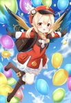 1girl :d ahoge backpack bag balloon bangs bloomers blue_sky boots brown_footwear brown_gloves brown_scarf cabbie_hat clouds cloudy_sky clover_print coat commentary_request eyebrows_visible_through_hair genshin_impact gliding gloves hair_between_eyes hat hat_feather hat_ornament highres klee_(genshin_impact) knee_boots long_hair long_sleeves looking_at_viewer low_twintails open_mouth orange_eyes outstretched_arms platinum_blonde_hair randoseru red_coat scarf sidelocks sky smile solo spread_arms twintails underwear wings yoboshi