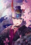 1girl bangs black_kimono bob_cut breasts cherry_blossoms eyeliner fang fate/grand_order fate_(series) floral_print headpiece highres horn_ornament horn_ring horns ichino_tomizuki japanese_clothes kimono long_sleeves looking_at_viewer lostroom_outfit_(fate) makeup oni oni_horns petals purple_hair sash short_hair shuten_douji_(fate) skin-covered_horns small_breasts smile tongue tongue_out tree violet_eyes wide_sleeves