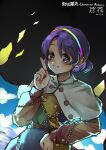 1girl absurdres black_background blush buttons cape capelet cloud_print eyebrows_visible_through_hair fingernails highres kourou_(kouroukun) looking_at_viewer multicolored multicolored_clothes multicolored_hairband pointing pointing_up pouch purple_hair rainbow_gradient red_button short_hair sketch smile tenkyuu_chimata touhou violet_eyes yellow_button zipper