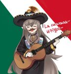 breasts closed_eyes fx-05_(girls_frontline) girls_frontline guitar hat highres instrument long_hair mexican mexican_dress mexico solo sombrero