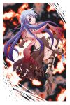 1girl armored_boots assassin_cross_(ragnarok_online) bangs black_cape black_gloves black_legwear blue_hair boots border braid cape closed_mouth commentary_request dagger dual_wielding elbow_gloves eyebrows_visible_through_hair full_body gloves hachipocchi high_heel_boots high_heels holding holding_dagger holding_weapon kneehighs long_hair looking_at_viewer looking_back ragnarok_online red_scarf scarf solo torn_cape torn_clothes torn_scarf twin_braids violet_eyes waist_cape weapon white_border